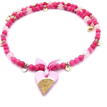 Pink and gold bead necklace with handmade heart pendant, feminine, romantic, bridesmaid jewellery