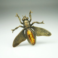 Antique Victorian Insect Bug Amber Glass Brooch