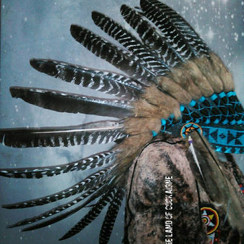 Turkey Feathers Headdress, Indian Costume, Native American Headpiece, Indian Warbonnet, Vintage, Boho, Gypsy