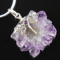 Amethyst Sterling Silver Dragonfly Necklace