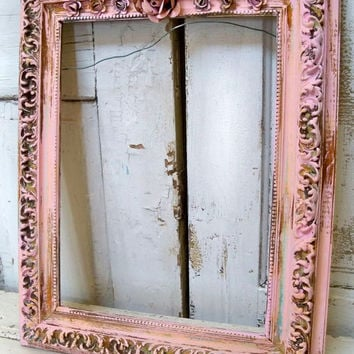 Pink distressed frame large wood gesso hand painted rusted rose adorned shabby chic wall home decor Anita Spero