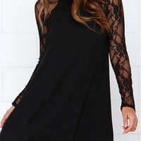 Black Sheer Lace Panel Chiffon Shift Dress