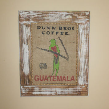 Framed Dunn Bros Guatemala Parrot Burlap Coffee Bag Art