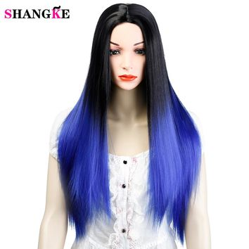 SHANGK Hair Black And Blue Ombre Wig For Women 26 Inch Long Straight Wigs Synthetic Hair Heat Resistant Cosplay Wig