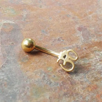 Stainless steel gold Om, Ohm Daith, Rook, Eyebrow ring