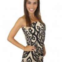 Taupe And Black Printed Romper - Rayla