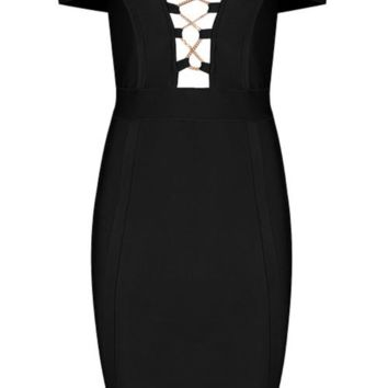 'Cassida' Deep V Chain Mini Dress - Black