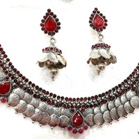 Oxidized Goddess Lakshmi Coin Necklace and Earring set