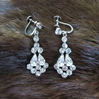 Clear Crystal Rhinestone Dangle Earrings Vintage Wedding Bridal