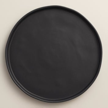 Black Organic Rimmed Dinner Plates, Set of 4