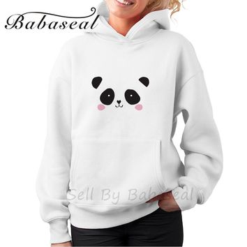 Babaseal Cute Panda Bear Black And White Illustrations Cute Hoodies Sweatshirt Fashion Couple Hoodies Kpop Totoro Hoodie