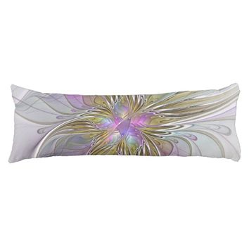 Floral Colorful Abstract Fractal With Pink & Gold Body Pillow