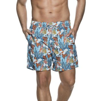 ONDADEMAR BICOLLAGE SWIMWEAR BLUE PRINTED SEA FIT SWIMSHORTS