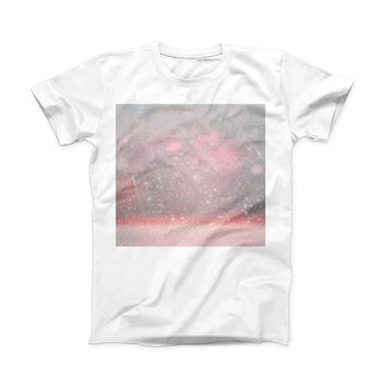 The Muted Pink and Grunge Shimmering Orbs ink-Fuzed Front Spot Graphic Unisex Soft-Fitted Tee Shirt