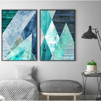 Abstract Geometric Turquoise Canvas Art Posters Canvas Prints Nordic Painting Wall Pictures for Living Room Home Decor
