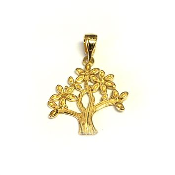 Sterling Silver 18 Karat Gold Overlay Plated Tree Of Life Pendant