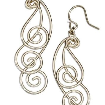 Sterling Silver Triple Graduated Curling Spiral Dangle Earrings