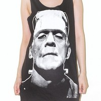 Frankenstein Charcoal Black Horror Classic Movie Rock Tank Top Size M