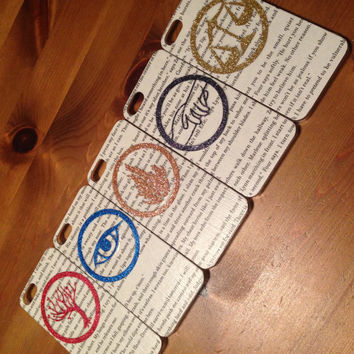HANDMADE Glitter Real BOOK page! Divergent iPhone 4 4s Dauntless Phone Case 5c 5s Factions   Amity Dauntless Candor Erudite Abnegation Cover