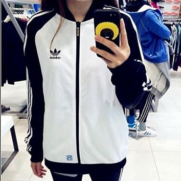 ADIDAS Clover Bear Shirts Baseball Wear Jackets Couples Casual Sportswear Jackets Blac