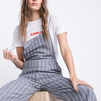 Pinstripe Backless Jumpsuit