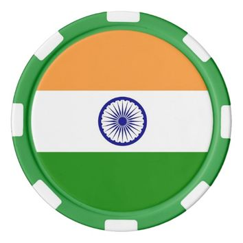 Poker chips with Flag of India