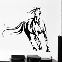 Wall Vinyl Decal Horse Animals Mustang Nature Freedom Home Interior Decor Unique Gift z4111