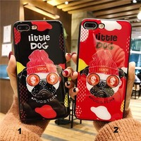 A money loving dog Glass texture mobile phone case for iPhone X 7 7plus 8 8plus iPhone6 6s plus -171212