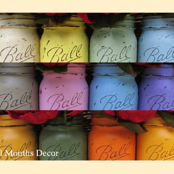 Choose 15 Painted Mason Jars, Pint, Fifteen, Cream White, Distressed Home Wedding Bridal Vase, Baby Shower Decor, Rustic Shabby Chic Gift