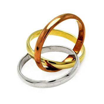 Sterling Silver Tricolor Gold Plated Designer Ring Band 3 Rings in 1