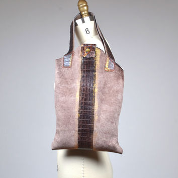 Suede Leather Tote Bag - OOAK Leather Tote Bag - Women's Leather Tote Bags - Gift for her