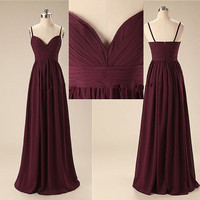 Sweetheart Straps Chiffon Prom Dress,Burgundy Long Prom Dresses