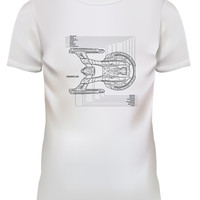 Unisex Blueprint USS Enterprise Starships Challenge White T Shirt Size S M L XL