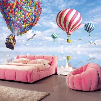 Colorful hot air balloon pattern Nonwovens Wallpapers Living Room Bedroom Kids Room TV Sofa Background Decorative Wallpapers