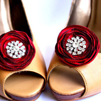 Bridal fabric flower shoe clips/Chic bright red by kpersonboutique