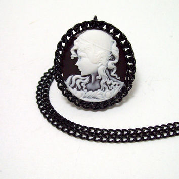 gothic, necklace, gypsy, cameo, black, chainmaille, pendant, chainmaille necklace