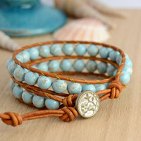 Bohemian chunky beach bracelet. Beaded double wrap bracelet