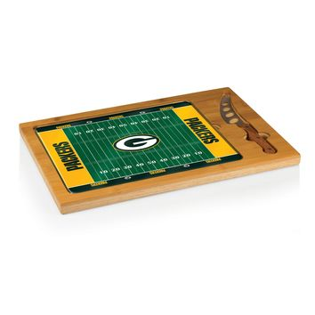 Green Bay Packers - Icon Glass Top Serving Tray & Knife Set (Football Design)