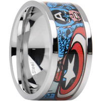 Officially Licensed Marvel Captain America Steel Printed Comic Ring