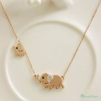 Mom and Baby Elephant Necklace