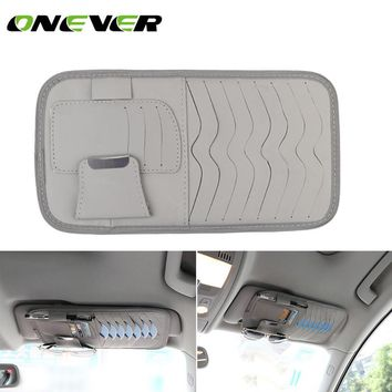 PU Leather Car Sun Visor Organizer Pouch Bag Card Storage Glasses Holder Multi-Purpose Storage Bag Car Organizer Car Styling