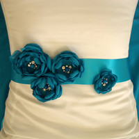 Teal Blue Bridal Sash - Something Blue Wedding - by KPerson