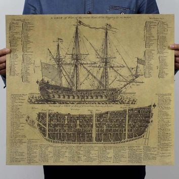 Vintage ancient ship ancient navigation sailing home decoration kraft paper painting core sticker printed draw hanging picture