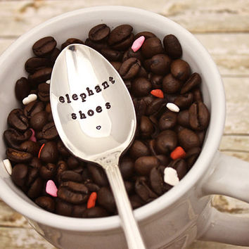 Valentine's Day Gift - Elephant Shoes Coffee Spoon - I Love You - Hand Stamped - Coffee Lover Stir Stick - Vintage Silver Plated Silverware