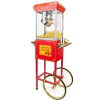 FunTime Sideshow Popper 4-Ounce Hot Oil Popcorn Machine with Cart, Red/Gold