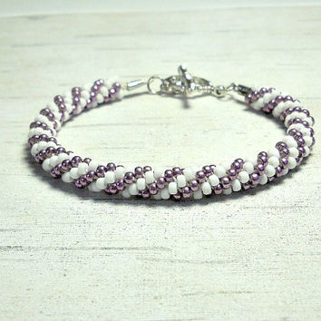 Swirl Kumihimo Bracelet, Braided Bracelet, Wedding Kumihimo Bracelet. Purple and White Braid Bracelet