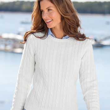 Women's Double L Cotton Sweater, Cable Crewneck | Now on sale at L.L.Bean