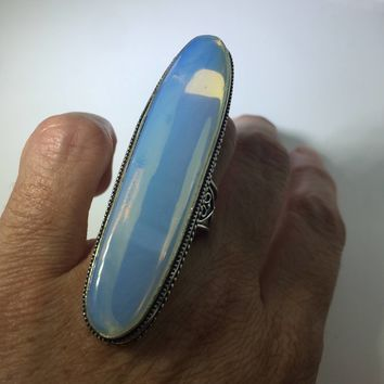 Vintage Blue white opal Venecian Art Glass ring