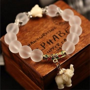 Natural Frosted Stone Beads Elephant Buddha Bracelet