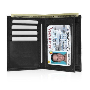 AFONiE Genuine Leather Bifold Men Safe Wallet with Coin Pouch
